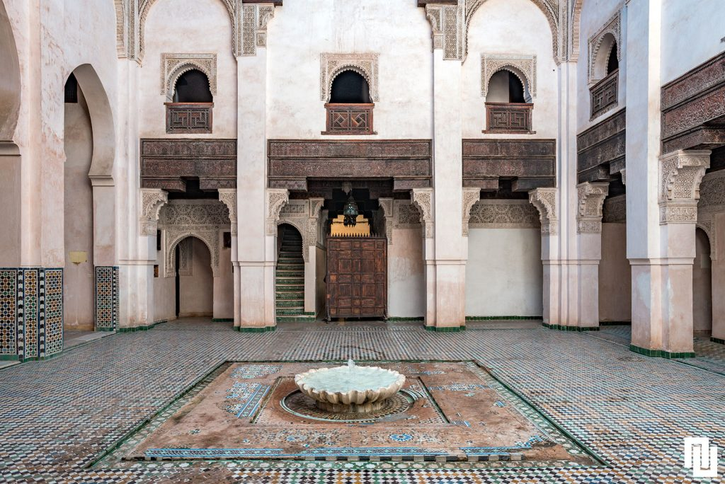 The interior view of Al-Attarine Madrasa built by the Marinid sultan Abu al-Hassan in 1323-1325. Фес  Мароко, медината